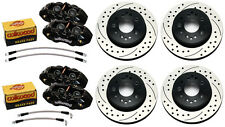 WILWOOD DISC BRAKE SET,D8-4 BLACK CALIPERS,DRILLED ROTORS,65-82 CORVETTE C-2,C-3