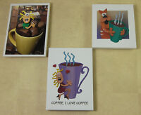 3 Coffee Themed Refrigerator Magnets by Bob Sihilling Cat with Coffee & More