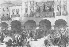 ITALY. King & Archbishop of Padua, Sartori Palace, antique print, 1866