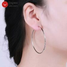 50mm Sterling Silver S925 Ring Dnagle Hoop Earrings for Women Fine Jewelry-e570