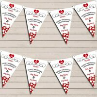 Hearts Party Decoration Ruby 40th Wedding Anniversary Bunting Party Banner