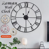 40/60/80CM Large Outdoor Garden Metal Wall Clock Roman Numerals Giant Round Face
