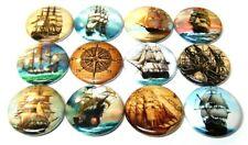 "12 MARITIME SHIPS Buttons Pinbacks 1"" Pins Nautical Sailing Ship Vintage Images"