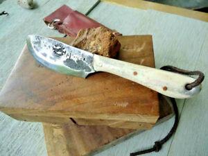 Nessmuk Bushcraft Knife, Hand Forged, White Bone Handle, Copper Pins, Sheath