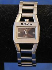 "Nixon Women's Sugar Stainless Steel Watch Black Analog Dial New Battery 7"" Long"