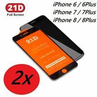 2x Panzerfolie iPhone 6 7 8 Plus Glas 21D Full Screen Display 11H Schutzglas