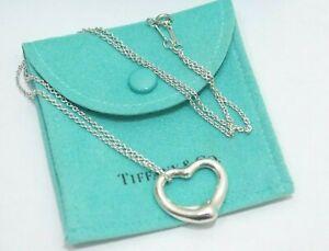 "Tiffany & Co. Peretti Sterling Silver Open Heart 22mm Pendant Necklace 16"""
