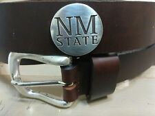 Dark Brown Leather Belt Size 42 with New Mexico Concho