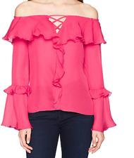 Parker Womens Erin Off The Shoulder Long Sleeve Ruffle Silk Blouse
