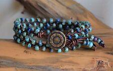 Double Wrap Bracelet Green Blue Beaded Leather Wrap Handmade Jewelry 14.5'' long