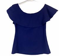 Portmans Womens Blue Short Flutter Sleeve Blouse Size S