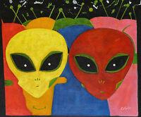 Gemälde - Aliens Porträt - handgemalt Leinwand Acryl Malerei modern naiv bunt