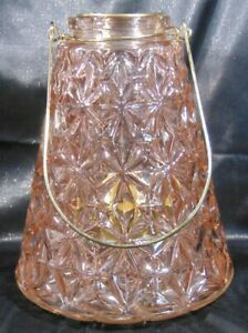 """Pink Glass Large Tea Light Lantern With Carry Handle 9.25"""""""