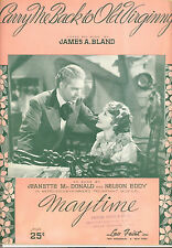 MAYTIME Sheet Music Carry Me Back To Old Virginny Jeanette MacDonald Nelson Eddy