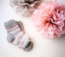 Pink Gray Striped woolen baby socks Handmade 100% ecological wool High Quality