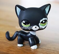 Littlest Pet Shop Black Short Hair Cat Green Eyes Flower Patch LPS Toys #2249