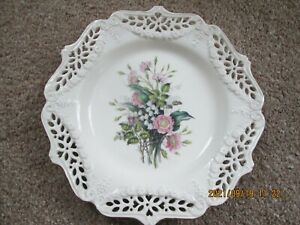 Royal Creamware Floral Gift 'Wild Roses' Reticulated Plate Paul Jerrard 10.75 In