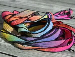 COSMOS Silk Ribbons, Qty 5 Hand Dyed Stringing Supplies JamnGlass Crinkle Ribbon