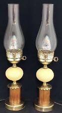 "2 Vintage 20"" Mid Century Boudoir Tan Hobnail & Wood Table Lamp & Globe Pair Set"