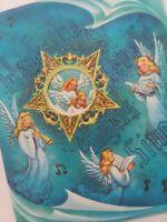 1950s Vtg ANGELS Gold GLITTER Peek Star AQUA Art Guild CHRISTMAS GREETING CARD