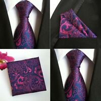 Men Purple Pink Paisley Flower Silk Tie Pocket Square Handkerchief Set Lot HZ081