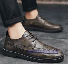 Zapatos para hombre Retro Cuero Calado Punta De Ala Tallado Formal Boda Vestido Formal tamaño NUEVO