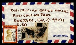 DR WHO 1981 BARBADOS OVPT AIRMAIL TO USA  g17860