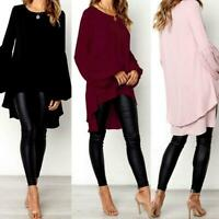 Women Long Sleeve Tunic Top Tee T Shirt High Low Bell Sleeve Blouse New