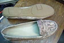 womens faded glory brown skin print mod peeny loafers shoes size 11