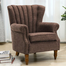 Retro Style Wing Accent Back Armchair Living Bedroom Lounge Sofa Fabric Fireside