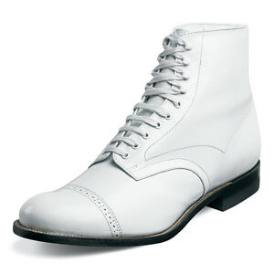Stacy Adams Mens Madison White Leather Dress Trendy Laceup Ankle Medium Boot
