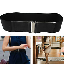 Women Wide Black Waist Belt Vintage Silver Buckle Elastic PU Stretch Waistband