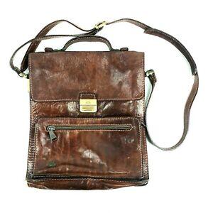 Authentic VTG The Bridge Shoulder Bag Messenger Travel Brown Leather Bag