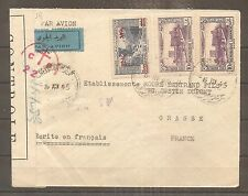 LETTRE LEBANON BEYROUTH LIBAN 1945 TO FRANCE CACHET FFL ET CENSURE AIRMAIL