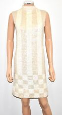 VTG 60'S IMPERIAL IMPORTS Ivory Hand Beaded Sequin Wool Dress FREE SHIP - Sz Sm.