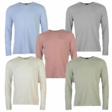 Patternless Crew Neck Long Sleeve Casual Shirts & Tops for Men