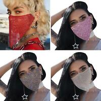 Women Sexy Reticulated Face Mouth Cover Rhinestone Night Club Party Veil-Yashmak