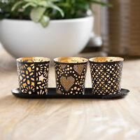 Metal Black & Gold Three Tea Light Candle Holder Set Home Decor Tealight Tray