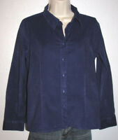 Talbots Petites Deep Blue Corduroy Button-Down Long Sleeve Shirt Size PS