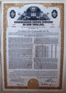 Consolidated Edison Company of New York, Inc $1000 bond dated 1962