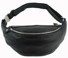 New Arrival Men Black Leather Fanny Waist Bags Shoulder Bag Chest Sling Bag Gift