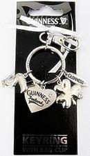 Guinness Shamrock diamante charm keyring with bag clip (sg 2775)
