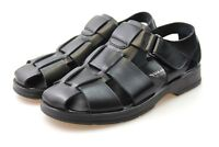 Mens Black Leather Sandals Walking Summer Beach Shoe Size UK 6 7 8 9 10 11 12 13