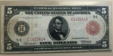 1914 red seal Richmond Federal Reserve $5 five dollars Burke - McAdoo