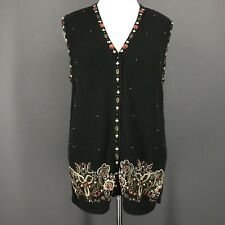 Christmas Sweater 1X Black Red Gold Vest Beaded Jeweled MAGGIE BARNES