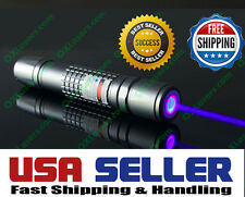 High Power 405nm Violet Laser Pointer Pen Military Focusable Beam Burn Visible