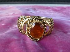CHUNKY 18K GOLD PLATED VICTORIAN CUFF BRACELET W CITRINE COLORED CENTER STONE