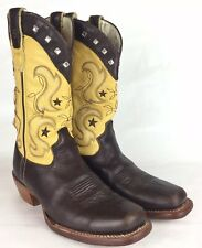 Stetson 7 Womens Boots Brown Leather Western Cowgirl Cowboy Square Toe Yellow