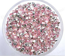 500Pcs Pink Acrylic Crystal Point Back Rhinestone Gems beads 3MM