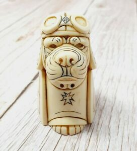 "John Biccard 3"" The Red Baron 1 Bulldog Sculpture Ornament Handmade Carved Art"